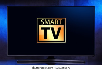 A flat-screen TV set displaying a smart TV icon