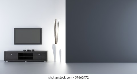 flatscreen wth rack to face a blank white wall - left side of view