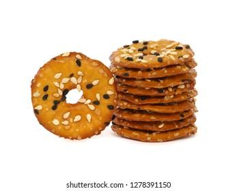 Flatten pretzel cracker with seeds