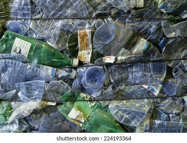 Flattened plastic bottles