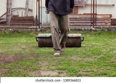 Flattening grass surface in the garden. Adult using lawn roller for give surface on same level. Summer worker pull behind lawn roller. Summer work on garden. Man in working outfit.