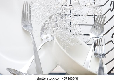 Flatware washing in fresh water
