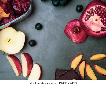 flavonoid, antioxidants, resveratrol rich food on grey concrete
