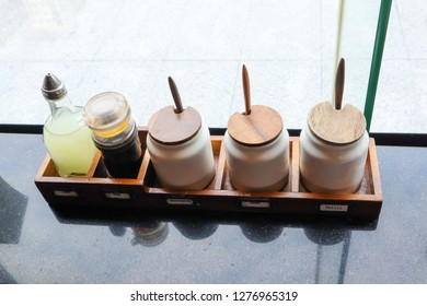 flavoring set for customer service in japanese restaurant.
