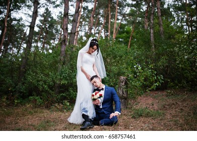 Flawless bride standing and her husband sitting next to her in the pine forest on the wedding day.