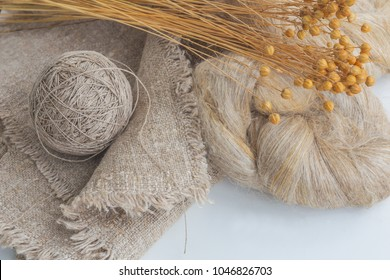 Flax fibers for the production of flax fabrics and flax yarn and thread.Production in the village of Brest region, Belarus.