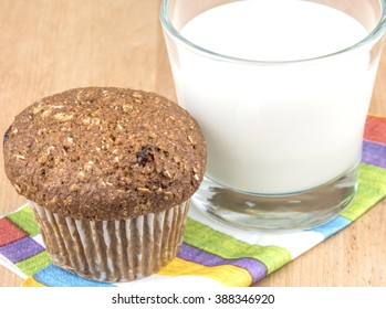 Flax muffin and a glass of milk