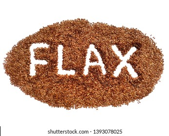 Flax seed heap with word flax isolated. Flaxseed pile on white background. Closeup macro organic flax seed crop.Top view flaxseed heap, flat lay. Healthy brown seed food. Raw flaxseed for linseed oil