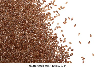Flax seed, linseed pile isolated on white background, top view