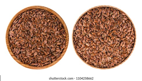 Flax seeds in bowl isolated on white background. Top view