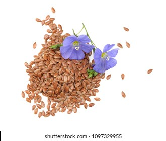 flax seeds with flower isolated on white background. flaxseed or linseed. Cereals. top view
