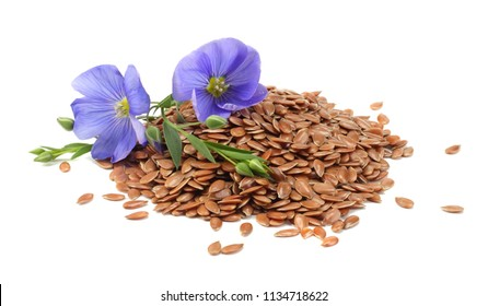 flax seeds with flower isolated on white background. flaxseed or linseed. Cereals.