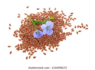 Flax seeds and flax flowers on a white background