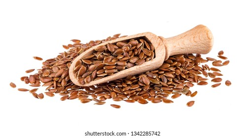 Flax seeds isolated on white background with clipping path, close-up of linseed in wooden scoop
