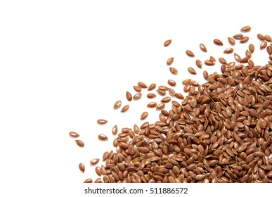 Flax seeds isolated on white