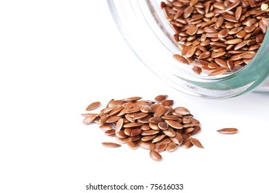 a flax seeds, isolated on white