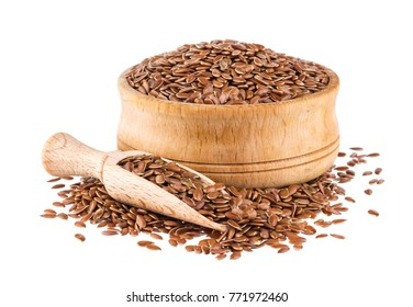 Flax seeds isolated on white background, close up of flaxseed in wooden scoop and bowl