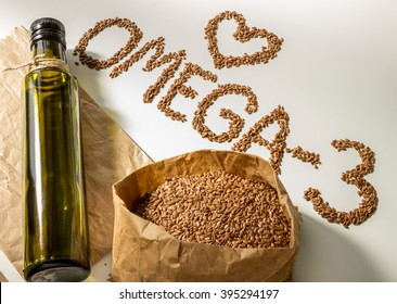 Flax seeds, linseed oil in the bottle. Healthy eating.