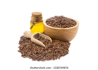 Flax seeds, linseed pile in Wooden bowl isolated on white background.Organic food concept