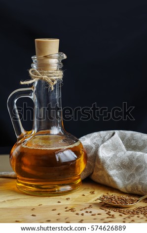 Flax Seeds On Spoon Linseed Oil Stock Photo Edit Now 574626889