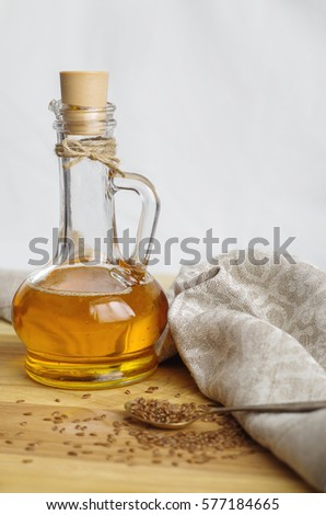 Flax Seeds On Spoon Linseed Oil Stock Photo Edit Now 577184665