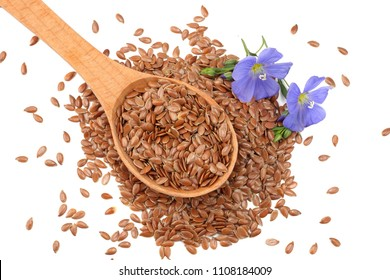flax seeds in wooden spoon with flower isolated on white background. flaxseed or linseed. Cereals. top view