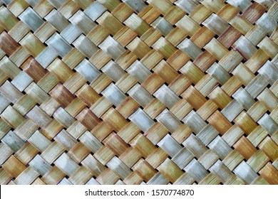Flax weaving background: detailed closeup of a traditional natural flax mat - raranga weaving is a Maori tradition in New Zealand