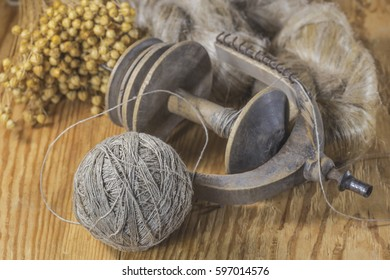 Flax,flax fibers,threads and spindle spinning wheels