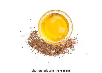 Flaxseed (linseed) oil isolated on white background. Studio shot.