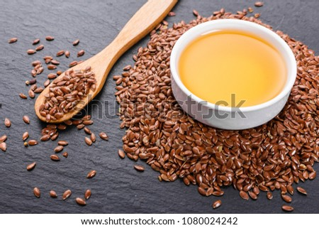 Flaxseed Oil On Rustic Background Stock Photo Edit Now 1080024242