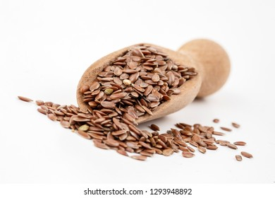 Flaxseed on the white background