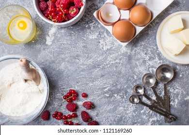 Flay lay with ingredients for baking cake