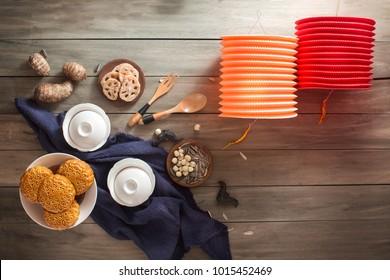 Flay lay mid-autumn festival food and drink still life.