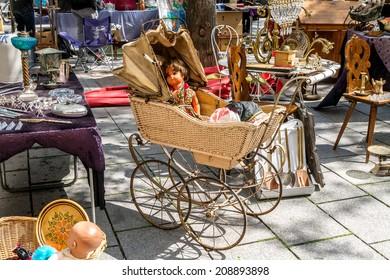 Flea market on the of Square in Strasburg. France, Alsace