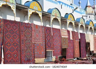 Flea Market Woven Carpets. street fair