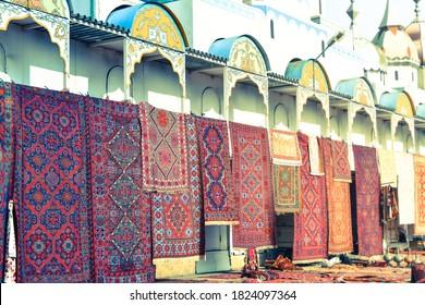 Flea Market Woven Carpets.Street fair