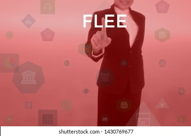 FLEE - business concept presented by businessman