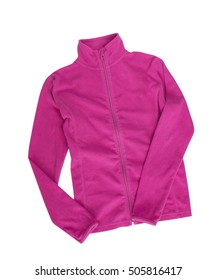 Fleece zipper jacket pink color isolated on white background. Female clothes.