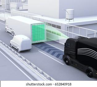 A fleet of autonomous truck driving on highway. 3D rendering image.