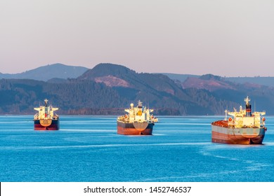 Fleet of cargo ships sailing the ocean. Container nautical vessels with shipment of export goods making delivery. Merchant tankers transporting bulk freight for commerce and trade across the sea.