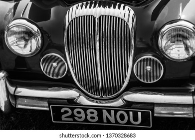 Fleet, Hampshire, UK – June 05 2016: The front of a 1964 Daimler 2.5L saloon on display at a car show