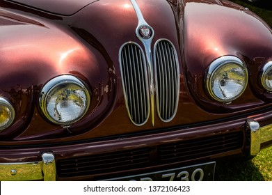 Fleet, Hampshire, UK – June 05 2016: The front of a 1950's Bristol Type 403 on display at a car show