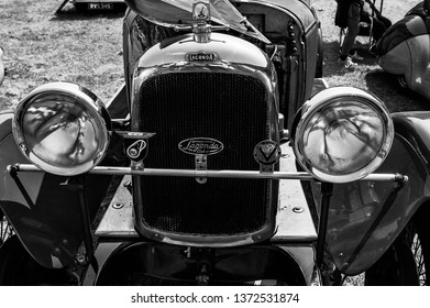 Fleet, Hampshire, UK – June 05 2016: The front of a 1931 Lagonda 2 Litre T2 Low Chassis Tourer on display at a car show