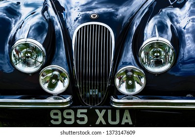 Fleet, Hampshire, UK – June 05 2016: The front of a 1952 Jaguar XK120 on display at a car show