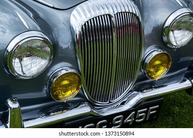 Fleet, Hampshire, UK – June 05 2016: The front of a 1967 Daimler V8 250 on display at a car show