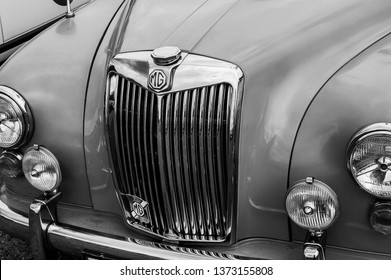 Fleet, Hampshire, UK – June 05 2016: The front of a 1950's MG Magnette on display at a car show