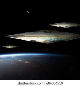 A fleet of massive spaceships known as motherships take position over Earth for a coming invasion at sunrise while the crescent moon shines in the backround.  Elements of this image furnished by NASA.