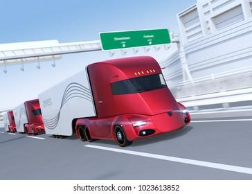 A fleet of metallic red self-driving electric semi trucks driving on highway. 3D rendering image.