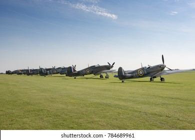 A fleet of Supermarine Spitfire World War II fighter aircraft