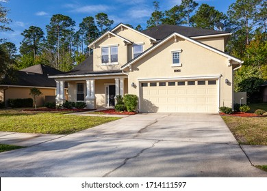 Fleming Island, Florida / USA - April 25 2020: Nice two story home with a garage